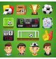 realistic icons set on theme soccer vector image