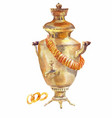 samovar and drying watercolor on a white vector image vector image