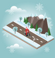 santa claus on a bike isometric countryside vector image vector image