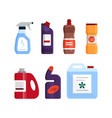 set cleaning tools detergent and disinfectant vector image vector image