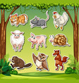 set of animal sticker character vector image