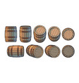 Set wooden barrels in different positions