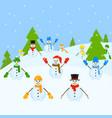 snowmen group christmas landscape vector image