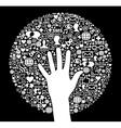 Social media network icon circle and hand vector image