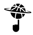 spinning basketball with finger icon vector image vector image