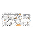 thin line art archaeology poster banner vector image vector image