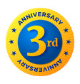 third anniversary badge gold celebration label vector image vector image