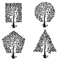 trees of different geometric shapes set vector image vector image