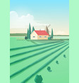 vertical countryside landscape with agricultural vector image