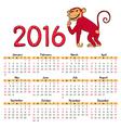 calendar red monkey vector image