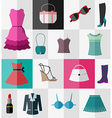 Set of flat womens clothes and accessories vector image