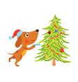 cute cartoon dog decorating christmas tree vector image
