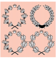 set of wreath of laurel and oak leaves vector image