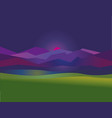 concept simple night mountain sunset landscape vector image