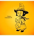 Little girl little witch detains disgruntled cat vector image