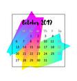 2019 calendar design concept october vector image vector image
