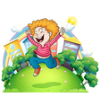 A young gentleman jumping for joy at the hill vector image vector image
