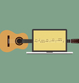 Acoustic guitar melody laptop flat design vector image vector image