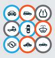 automobile icons set with crossover stop truck vector image