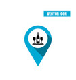 blue map pointer icon with wine bottle and glasses vector image vector image