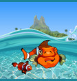 cartoon funny a clown fishes under water vector image