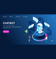 chatbot landing page isometric ai robot with vector image