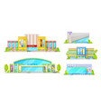 cinema buildings movie theater architecture vector image