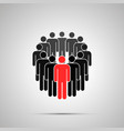 circle people silhouette with red leader vector image