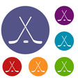 crossed hockey sticks and puck icons set vector image vector image