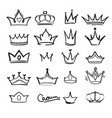 crown doodles king majestic imperial monarch vector image vector image