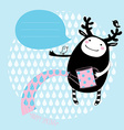 cute cartoon card with funny monster vector image vector image