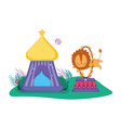 cute lion circus jumping fire ring vector image