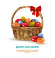 easter wicker basket realistic image vector image