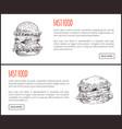 fast food framed big hamburgers vector image vector image