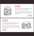 fast food framed of big hamburgers vector image vector image