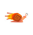 fast snail cute cartoon mollusk character vector image vector image
