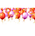 festive color purple and red balloon party vector image