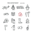 Fire safety contour icons vector image