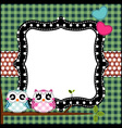 Frame of cute owls on branch vector image vector image