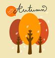 hello autumn tree and falling leaf cartoon vector image