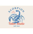 insect logo vintage scorpion label for bar vector image