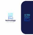 letter e technology line dot connection logo vector image vector image