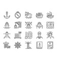 marine port icon set vector image vector image