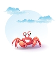 merry crab on a background of sky vector image vector image