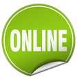 online round green sticker isolated on white vector image vector image