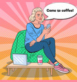 pop art woman with coffee and smartphone in a cafe vector image vector image