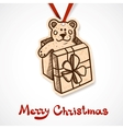 Present box with teddy bear Paper label on ribbon vector image vector image