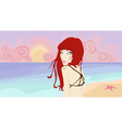 pretty woman on the beach vector image