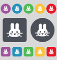 Rabbit icon sign A set of 12 colored buttons Flat vector image vector image