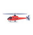 red helicopter aircraft flying chopper air vector image vector image